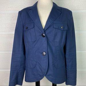 LAFAYETTE 148 Navy Cotton 2-Button Blazer